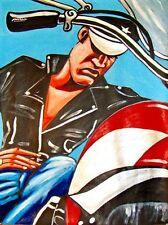 ELVIS PRESLEY PRINT poster motorcycle leather jacket biker cap harley davidson