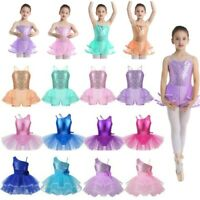 Girls Ballet Tutu Skirt Kids Shiny One-Shoulder Dress Jazz Performance Dancewear