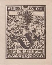 Ex-libris Albert von SCHLIPPENBACH par Adolf-Matthias HILDEBRANDT (1844-1918).