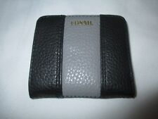 """NWT FOSSIL """"MADISON"""" MINI BIFOLD GRAY & BLACK PEBBLED LEATHER WALLET Retails $35"""