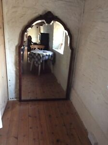 Antique Overmantel/Wall Mirror/Bevelled/Mahogany Surround