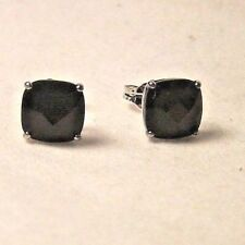 LOVELY STERLING SILVER 8 mm CUSHION ONYX STUD EARRINGS WITH BUTTERFLY FASTENINGS