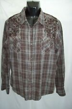 Pop Icon Clothing Long Sleeve Embroidered Shirt Pearl Snaps Mens Size XL