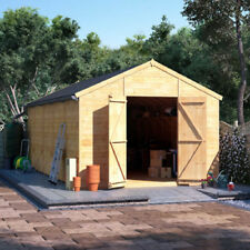 20x10 Tongue & Groove Windowless Wooden Shed Workshop Double Door Apex Roof Felt