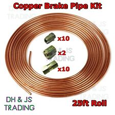 Copper Brake Pipe Kit Flexible 25 ft (environ 7.62 m) 10 Mâle & 10 Femelle Nuts menuisier Mixte 3/16 Union