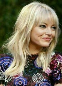 New Arrival Emma Stone Long Loose Wavy Blonde Capless Wig with No Tape or Glue