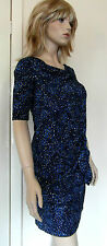 Kenneth Cole New York Designer Blue, Black, White Pattern Dress FREE UK Shiping