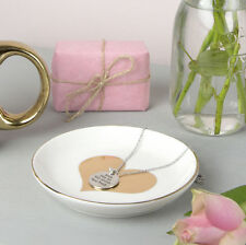 Gold Love Heart Jewellery Ring Earring Trinket Dish Ceramic Storage Tray Gift