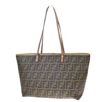 Authentic FENDI Zucca Pattern Shoulder Tote Bag PVC Leather Brown Italy 86MF061