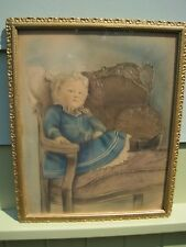 19TH Century Pastel Portrait of An Unbreeched Boy Under Glass in Original Frame
