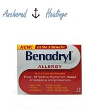 Benadryl Allergy Extra Strength Diphenhydramine Hydrochloride 50mg 12 Caplets