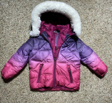 SNOZU Toddler Girls Puffer PINK OMBRÉ HOODED Fleece Lining Down Puffer Jacket 2T