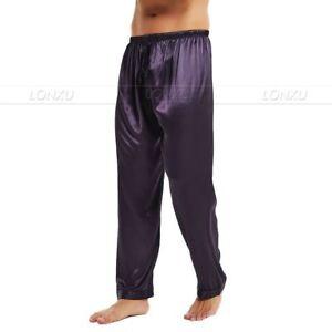 Mens Silk Satin Pajamas Pyjamas Pants Sleep Bottoms Free p&p S~4XL