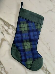 HANDMADE LANDS END WOOL NEEDLEPOINT BLACKWATCH PLAID XMAS STOCKING PERSONALIZE
