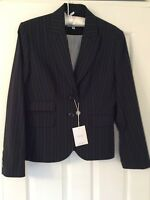 BNWT NEXT LADIES TAILORED OFFICE OCCASION NAVY PIN STRIPED BLAZER/JACKET SIZE 12