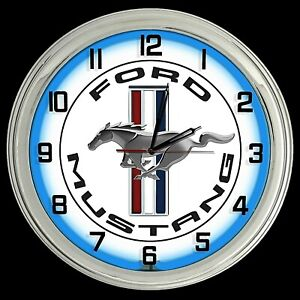 """16"""" Ford Mustang Logo White Sign Blue Neon Clock"""