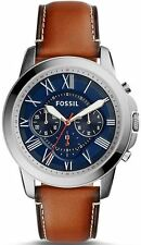 Men's Fossil Grant Round Chronograph Leather Strap Watch FS5210