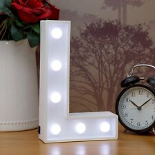Light Up Letter L - White Marquee Letters 23cm LED Wooden Letter Lights Sign A-Z