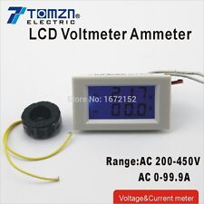 Dual LCD display Voltage and current meter range AC 200-450V 0-99.9A white