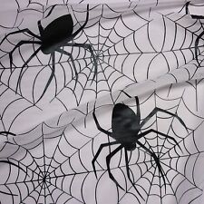 White Halloween Tulle Net Fabric Black Patent Webs & Large Spiders (Per Metre)