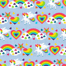 Printed Bow Fabric A4 Canvas Unicorn Hearts Rainbows U15 Make glitter hair bows