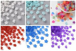100/200x Frosted Trans 6 Colors Acrylic Flower Bead Caps Jewelry Crafts 10x5mm