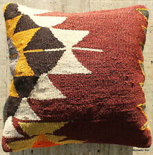 (40*40cm, 16inch) Boho style vintage kilim cushion cover dark tones goat hair 1
