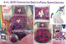 6pc JOJO Siwa COMFORTER+Pillow SHAM+SHEETS +UNICORN SET Twin/Single Bed in a Bag