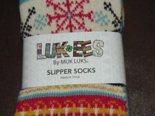 SLIPPER SOCKS - LUK-EES - WOMEN - MULTI-COLOR - SM / MEDIUM   (5-7)  (G2-BLU-A1)