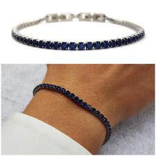 Bracciale tennis uomo acciaio braccialetto in blu da inox con regolabile