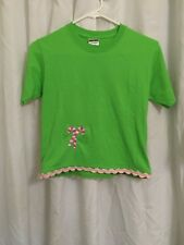 Jerzees Green S/S T-Shirt w Pink Embroidered Candy Cane & Trim M 10-12