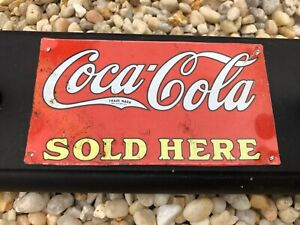 Vintage Coca-Cola Wood Peg Board Coat Rack Tin Adds