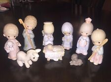 """Precious Moments 9 Piece Enesco Nativity Set """"Come Let Us Adore Him"""" Christmas"""