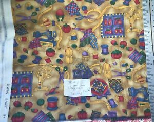 Hoffman Sewing Basket Sewing Themed Cotton Fabric By the Yard
