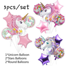 5PC/Set Unicorn Foil Balloons Baby Shower Birthday Party Decor Helium Balloon
