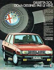 PUBLICITE ADVERTISING 056  1983   Alfa Romeo   Giulietta 2.0 l