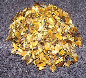 500 x Gold Tigers Eye Mini Chip Tumblestones 6mm-9mm A Grade Crystal Wholesale