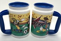 Vintage Disney Plastic Mugs All Star Resort Thermos Mickey Donald Goofy Sports 2