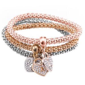 "Tri-color Women Ladies Stainless Steel Interlocking Bangle Bracelet Charm 7.87"""