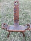 Vintage 3 leg Wood Folk Art Milking Stool  Birthing Chair  –  Pickup Only