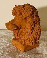 Sculpture en terre cuite POODLE HEAD STUDY signée RICHARD FATH, étude de caniche