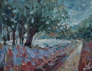 LAKE TREES LANDSCAPE OIL PAINTING BY ARTIST VIVEK MANDALIA IMPRESSIONISM 8 X 10