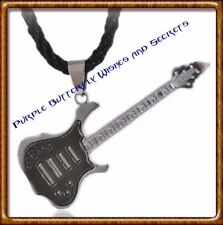 Guitar Rock Pendant with Black Cord Necklace, Stainless Steel, Silver plated