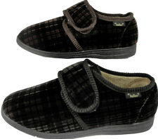 Mens Gents Dr Keller Comfort House Slipper Brown Black Soft Touch Fastening