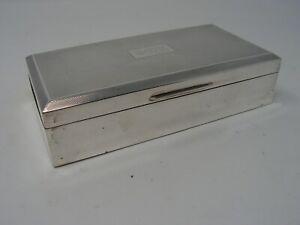 "LARGE VINTAGE SOLID SILVER CIGARETTE BOX 1955 INITIALS ""G.E.K"" ENGLISH HALLMARKS"