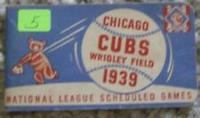 1939 CHICAGO CUBS NATIONAL LEAGUE BASEBALL SCHEDULE BOOKLET WBBM RADIO WRIGLEY