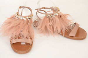 Miu Miu blush pink 9 39 satin feather crystal ankle strap sandal shoe NEW $890