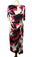 Per Una M&S 12 White Pink Floral Ruched Dress Party Holiday Midi Wedding Flatter