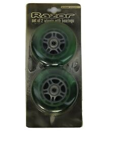 Razor Set of 2 Wheels with Bearings - Green. 6012A. New in Sealed Package