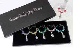 Boxed set 6 glass charms wine bottle & glasses with coloured beads ideal gift
